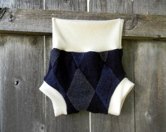 Upcycled Wool And Organic Merino Wool Interlock Soaker Cover Diaper Cover With Added Doubler Gray/ Navy Argyle LARGE 12-24M
