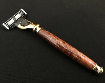 Razor Handle - Mach 3 - Redwood Burl with Gold Titanium Nitride Hardware