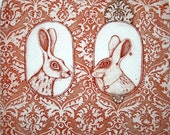 Etching / limited edition original etching (printmaking / graphic art) / original print / original art / love art / rabbit - 'He and She 2'
