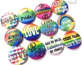 "Gay Pride, 1"" Buttons, Marriage Equality, Pride Pins, Gay Pride Buttons, Pride Pinbacks, Gay Pride Flatbacks, Rainbows, LGBT, LGBT Buttons"