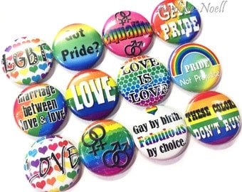 "Gay Pride Magnets, 1"", Button Magnet, Marriage Equality Magnet, Gay Pride Buttons, Rainbow Magnet, LGBT Magnet, LGBT Buttons, LGBT Theme"