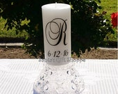 Wedding Candle Vinyl Decal (1 Monogram plus Date) - Bride Groom - CANDLE NOT INCLUDED - Couple - Celebration