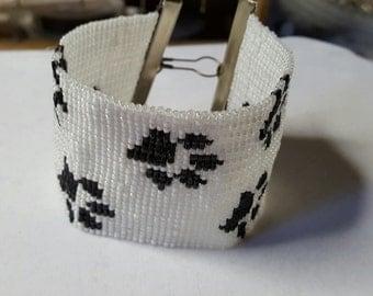 Paw Prints Cuff Bracelet Black & White