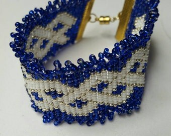Cobalt, Gold, and White Weave Cuff Bracelet