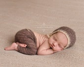 Two Toned Mohair Pants and Hat Set in Toffee Brown and Beige Newborn Photography