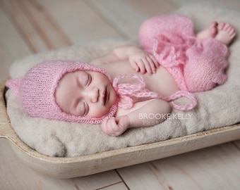 Pink Mohair Pants and Hat Set Newborn Photography