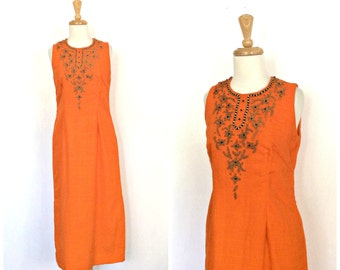 Vintage Indie Dress - 60s dress - beaded dress - cotton sundress - boho hippie - tea length - ethnic - resort wear - linen dress - S M