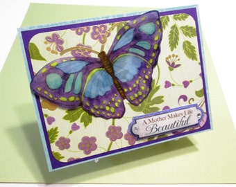 MOM'S BIRTHDAY large sheer butterfly - A Mother Makes Life Beautiful handmade card