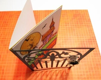 Handmade Halloween Card - Haunted House scene with die-cut Gothic Gate, dimensional Ghost and handmade Box Envelope