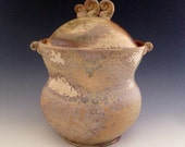 Ceramic Jar, Wood Fired Porcelain Coffee Canister, Holds 5 Cups, Rustic Kitchen Decor.