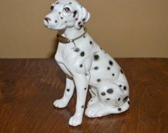 Vintage Dalmatian dog figurine - chain and tag - Brinns