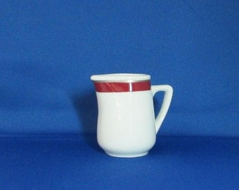 Rego Restaurant Ware Creamer, Small Pitcher, White with Metallic Silver and Burgundy Trim