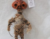 OOAK Original Primitive Folk Art Doll Vintage Halloween Ornament JOL Pumpkin Clay Figure Creepy Cute Nightmare Before Christmas