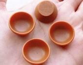 Dollhouse Bowl Cabochons / Tiny Mini Rice Bowls (4pcs / 19mm x 9mm / Brown) Miniature Food Making Mini Doll House DIY Fake Food Craft MC48