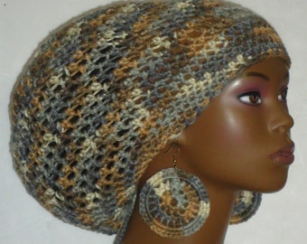 Gray Earth Tones Crochet Large Tam Cap Hat with Drawstring and Earrings by Razonda Lee Razondalee