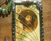 Antique Art Nouveau French Holy Card Jesus I Thirst or J'ai soif Stained Glass Plaque Keepsake