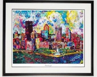 Pittsburgh Skyline art, Pittsburgh art, Pittsburgh wall art, Framed print, Pittsburgh pride, man Cave art, by Johno Prascak