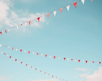 WHERE WE DREAM, fine art photograph, home decor, nursery childrens wall art, whimsical, sky, flags, dreaming