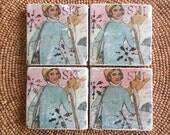 "Marble Stone Coaster Set - Vintage Ski ""Lovely Lady"" - Coaster - Drink Tile - Vintage Ski - Ski Decor - Ski Art"