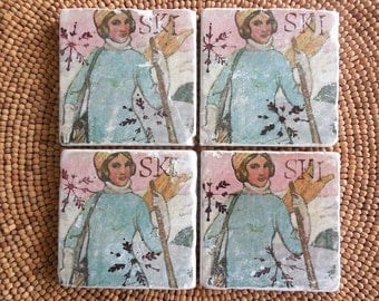 "Marble Stone Coaster Set - Vintage Ski ""Lovely Lady"" - Coaster - Drink Tile - Vintage Ski - Ski Decor - Ski Art"