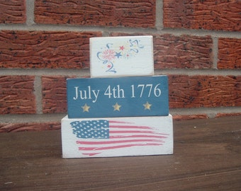 Shabby chic solid pine July 4th Independence day  wooden blocks shelf sitters