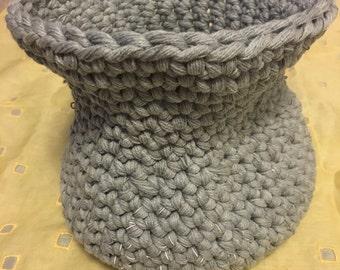 Gray/Silver Crochet Vase/Basket