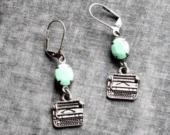Typewriter Earrings Retro Type Writer Mint Green Earrings