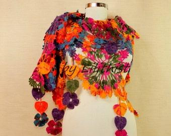 Crochet Shawl, Lace Shawl, Rainbow Flower Shawl, Triangle Crochet Scarf, Wedding Cover Up, Bridal Shawl, Boho, Gypsy, Hippie, Gift For Women