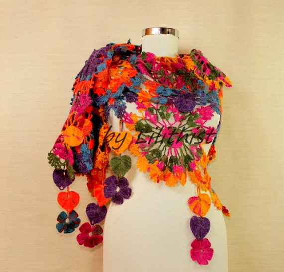 Rainbow Crochet Shawl, Flower Shawl, Crochet Lace Shawl, Triangle Crochet Scarf, Wedding Shawl, Bridal Wrap, Cover Up, Festival Shawl