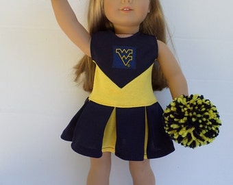 "American Girl 18""Doll University of West Virginia Cheerleader, Pompoms and Gym Shoes"