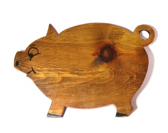 Vintage Hand Painted Pig Cutting Board - circa 1960's