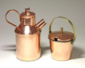 Vintage Copper Creamer Set, Copper Pitcher, Copper bucket - circa 1980's