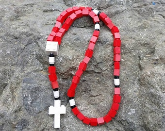 Lego Rosary - The Original Catholic Lego Rosary - Red and White for Boy or Girl First Communion Gift