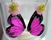 Fuchsia Butterfly Wing Earrings