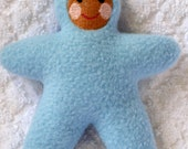 Handmade Blue Star Baby with brown face Stuffed Plush Doll Softie - Free Shipping