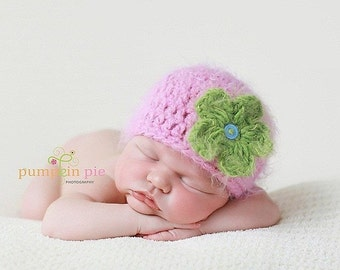 Crochet Flower Hat, Crochet Flower Baby Hat, Baby Girl Hat, Newborn Photo Props