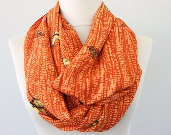 Orange elephant scarf tribal infinity scarf rust scarf fall fashion loop scarf circle scarf ethnic scarf indian pattern scarf holiday gift