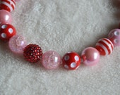 Red and Pink Valentine's Day Chunky Beaded Necklace, Girls Photo Prop Necklace