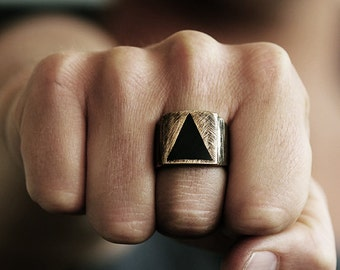 Mens Geometric Ring Gold Antique Brass Man Triangle Rustic Jewelry