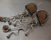 Reserved Ocean Jasper and Peach moonstone Sterling Silver Earrings