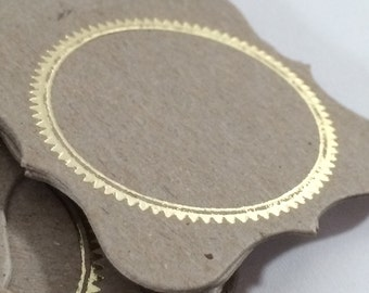 Gilded placecard/giftcard/label on kraft cardstock
