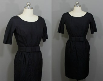 Vintage black wiggle dress with bow belt