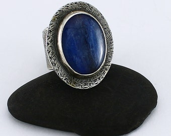 "Handcrafted Size 7 1/2 Ring Sterling Silver Oval Indigo Blue Kyanite Cabochon Wide Band ""Summer Rain"" Artisan Jewelry Design 042260898516"