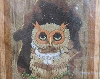 Vintage Little Tree Owl 1978 Sunset Designs Jiffy Stitchery Yarn Crewel Embroidery Craft Kit, New/Old