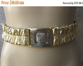 """Sale Valentines 1960s or 1970s Metalic Gold Elastic Wide Belt with Metal Front Latch, Size 26 to 33"""", Size S/M/L #40880"""