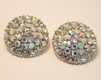 Vintage aurora borealis crystal earrings.  Post earrings