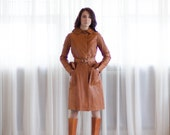 Gucci Leather Trench Coat - Vintage 1970s Gucci Coat - The Tigress Leather Coat