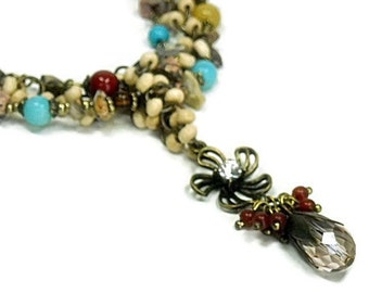 Bohemian Jewelry, Mixed Gemstone Necklace, Multi Strand Necklace, Boho Necklace, Bohemian Necklace, Boho Jewelry, Beaded Necklace