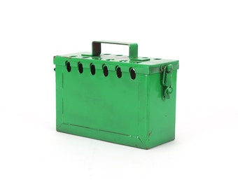vintage industrial green ammo box