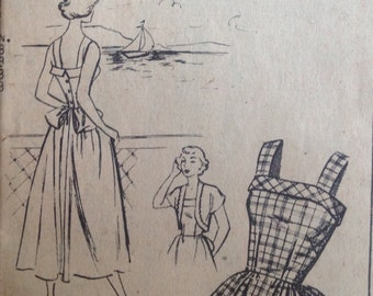 1950s Mail Order Misses's SUNDRESS with BOLERO Jacket Sewing Pattern